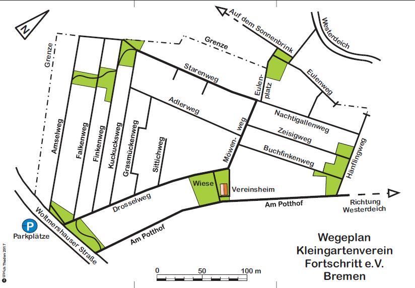 KLeingartenverein Fortschritt Bremen -Lageplan